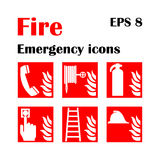 Fire emergency icons. Vector illustration. Fire exit. Vector fire emergency icons. Signs of evacuations. Fire emergency exit in red Stock Photo