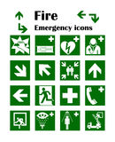 Fire emergency icons. Vector illustration. Fire exit. Stock Photos