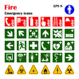 Fire emergency icons. Vector illustration. Vector fire emergency icons. Signs of evacuations Royalty Free Stock Photos
