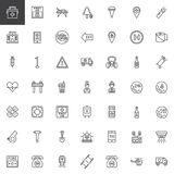 Fire emergency line icons set. Outline vector symbol collection, linear style pictogram pack. Signs, logo illustration. Set includes icons as hospital Royalty Free Stock Images
