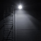 Fire emergency rescue access escape ladder stairway, bright lantern Royalty Free Stock Photo