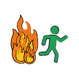 Fire emergency sign. Icon  illustration graphic design Stock Photos