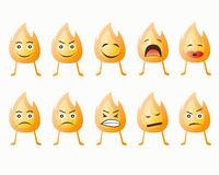 Fire emoticon. 10 emoticon of fire face Royalty Free Stock Photography