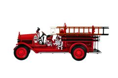 Fire Engine. A red isolated fire engine, photographed in a studio Stock Photo