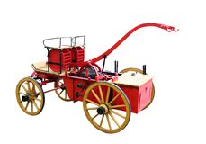 Fire engine. Red fire wagon from the beginning of the century Stock Photos