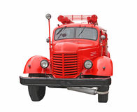 Fire-engine. Old fire-engine isolated on a white background royalty free stock image