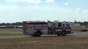 Fire engine on airport patrol stock video footage