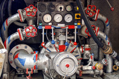 Fire engine back pump Royalty Free Stock Photos
