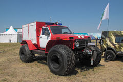 Fire-engine on the basis of the Lada Niva. ZHUKOVSKY, RUSSIA - JUL 1: The IV international salon of arms and military technology. Engineering technologies Royalty Free Stock Photos