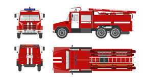 Fire engine car. Set stock vector illustration  red fire engine top, front, side, back view flat style white background Element infographic, website, icon Royalty Free Stock Photos