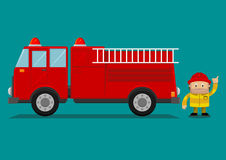 Fire engine cartoon  Royalty Free Stock Images