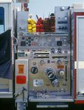 Fire engine closeup. Closeup of fire engine controls Stock Photo