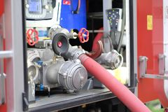 Fire engine compartment Stock Images