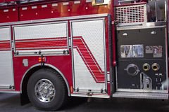 Fire engine detail. Detail of fire and rescue vehicle Stock Image