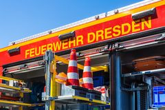 Fire engine Dresden, Saxony. Fire engine in action. Dresden, Saxony royalty free stock photo