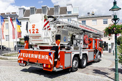 Fire engine on a firefighting show Stock Image
