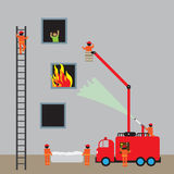 Fire engine, firefighting. Vector illustration Stock Images