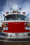 Fire Engine. Front view of a bright red emergency  fire truck Royalty Free Stock Photo
