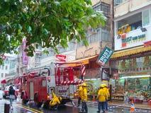 Fire engine of hongkong. Filmed in Tsuen Wan of Hongkong Royalty Free Stock Photo