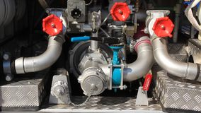 Fire engine hydraulic system stock video footage