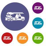 Fire engine icons set. In flat circle reb, blue and green color for web Stock Image