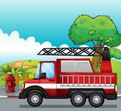 A fire engine. Illustration of a fire engine on a road Stock Photography