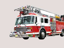Fire Engine Isolated. Front 3/4 view of red and white fire truck with hook and ladder, isolated on light grey background.  Blank white space for text on ladder Stock Photos