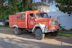 Fire engine in Karoo stock photo