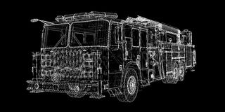 Fire Engine. Model, body structure, wire model Royalty Free Stock Image
