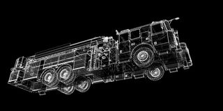 Fire Engine. Model, body structure, wire model Stock Photos