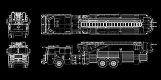 Fire Engine. Model, body structure, wire model Stock Images