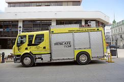 Fire engine in Punta Arenas, Chile. Punta Arenas is the capital city of the Magallanes and Antartica Chilena stock photos