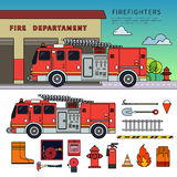 Fire-engine standing on the street. Thin line flat design of fire-engine. Firefighters truck standing near fire department. Emergency concept. Fire-engine Royalty Free Stock Photography