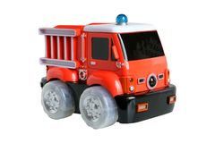 Fire-engine toy. Isolated on the white background Royalty Free Stock Photography