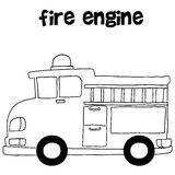 Fire engine vector art illustration. Hand draw Royalty Free Stock Photos