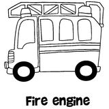 Fire engine vector with hand draw. Illustration Stock Images