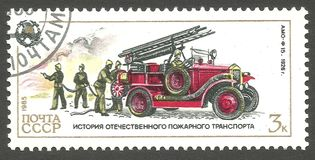 Fire Engines, Amo. USSR - stamp 1985, Issue Emergency rescue services, Fire brigades, Series History of Fire Engines, Amo f 15, 1926 Stock Photo