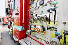 Fire engines equipment close shot Royalty Free Stock Photos