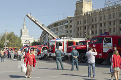 Fire engines at the exhibition stand under the open sky on the forecourt of Volgograd. Stock Photos