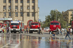 Fire engines at the exhibition stand under the open sky on the forecourt of Volgograd. Stock Image