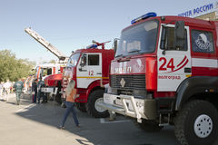 Fire engines at the exhibition stand under the open sky on the forecourt of Volgograd. Royalty Free Stock Photos