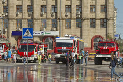 Fire engines at the exhibition stand under the open sky on the forecourt of Volgograd. VOLGOGRAD - SEPTEMBER 6: Fire engines at the exhibition stand under the Stock Image