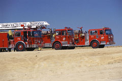 Fire engines parked side-by-side Royalty Free Stock Photography