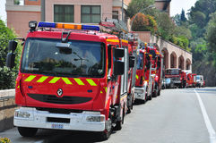 Fire engines in the street of Monte-Carlo Royalty Free Stock Images
