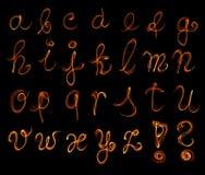 The fire english alphabet set on black background.  Royalty Free Stock Photo