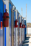 Fire environment - fire extinguishers ready. Fire prevention, fire extinguisher hanging on the workers' sheds Royalty Free Stock Images