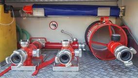 Fire equipment, fireman. Fire equipment, spear water firefighter Royalty Free Stock Photography