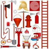 Fire equipment, tools and accessories. Firefighters tools, accessories and equipment for fire fighting. Illustration on white background Royalty Free Stock Photo