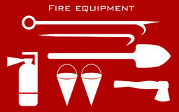 Fire equipment tools set red. Silhouettes Royalty Free Stock Photography