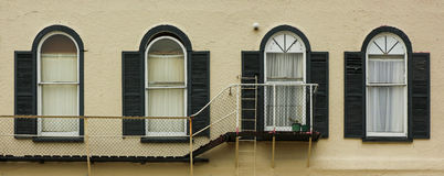 Fire Escape. For 3 out of 4 windows Stock Image